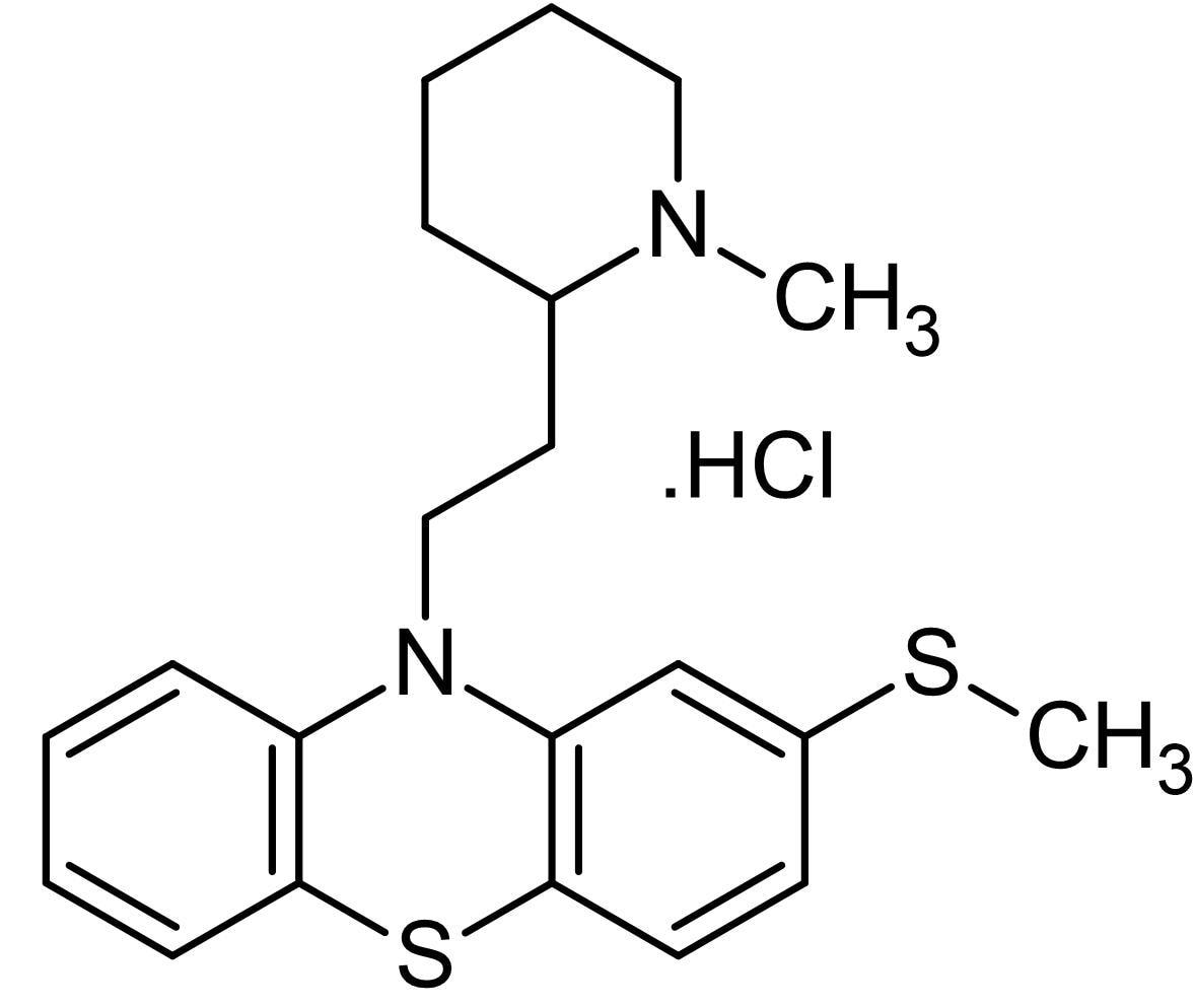 Chemical Structure - Thioridazine hydrochloride, Dopamine receptor antagonist (ab120580)