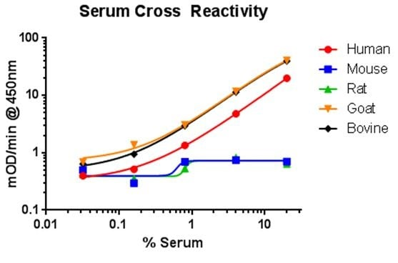 Species cross reactivity shown with sera