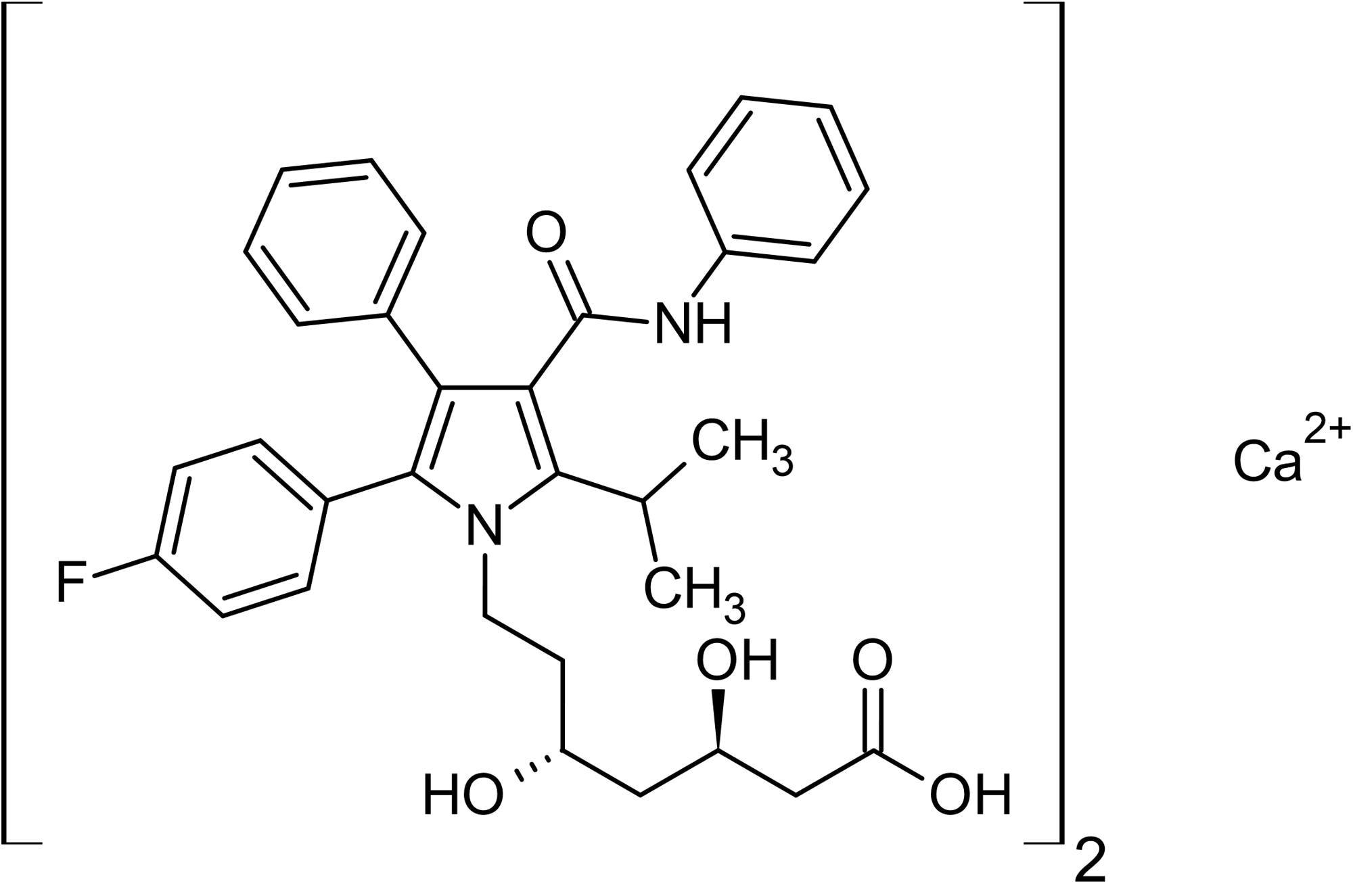Chemical Structure - Atorvastatin hemicalcium salt, HMG-CoA reductase inhibitor (ab141083)