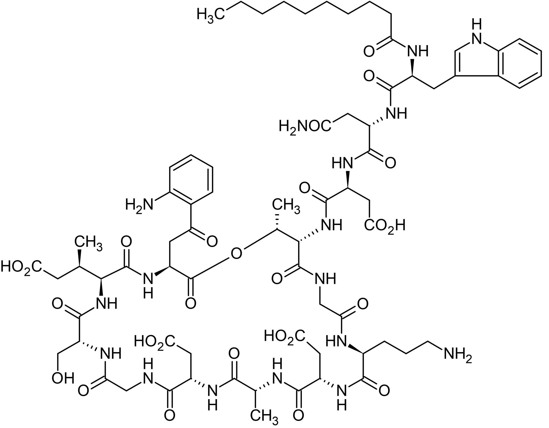 Chemical Structure - Daptomycin, Lipopeptide antibiotic (ab141204)