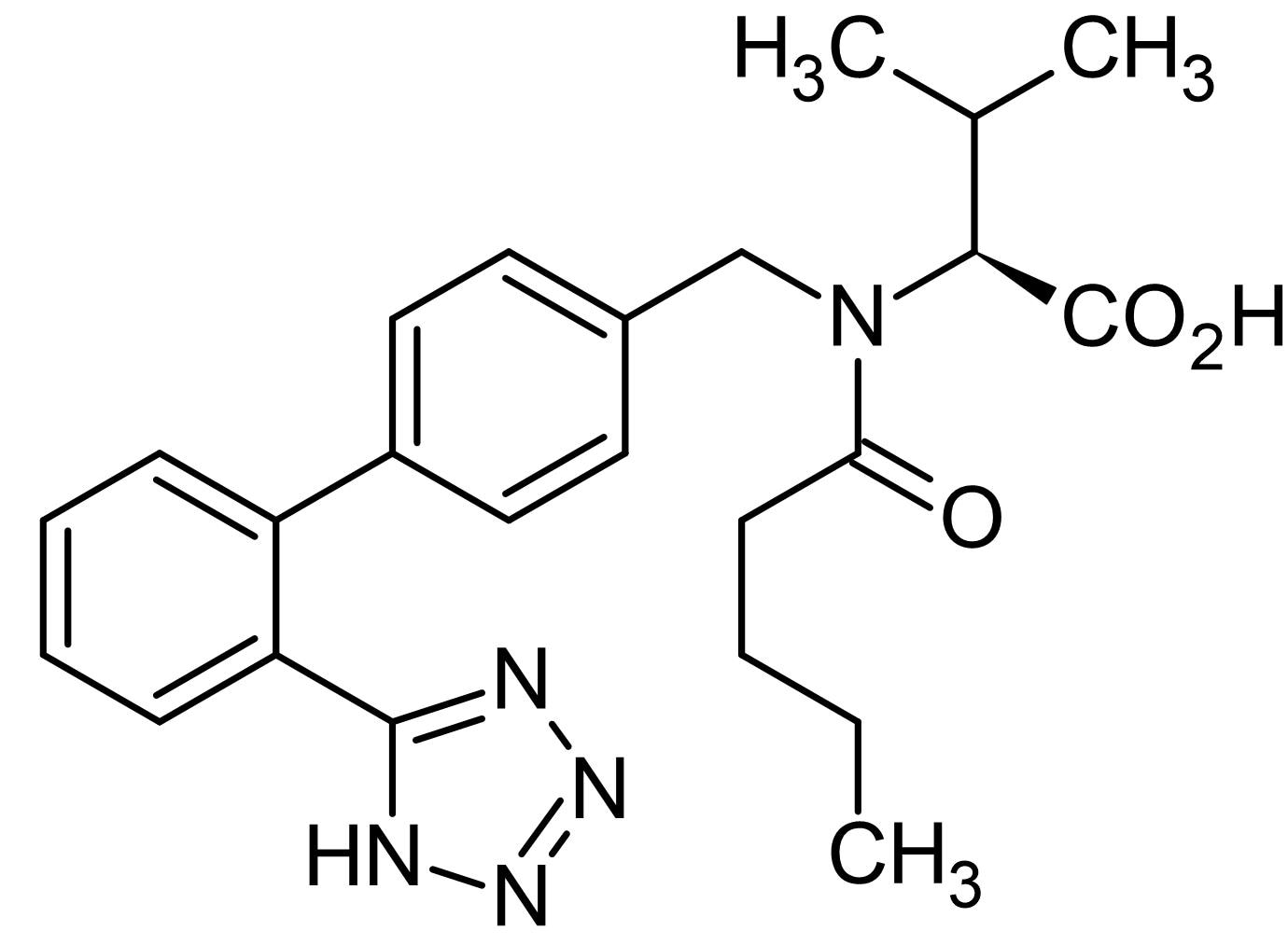 Chemical Structure - Valsartan, Highly selective, , competitive AT<sub>1</sub> receptor antagonist (ab141486)