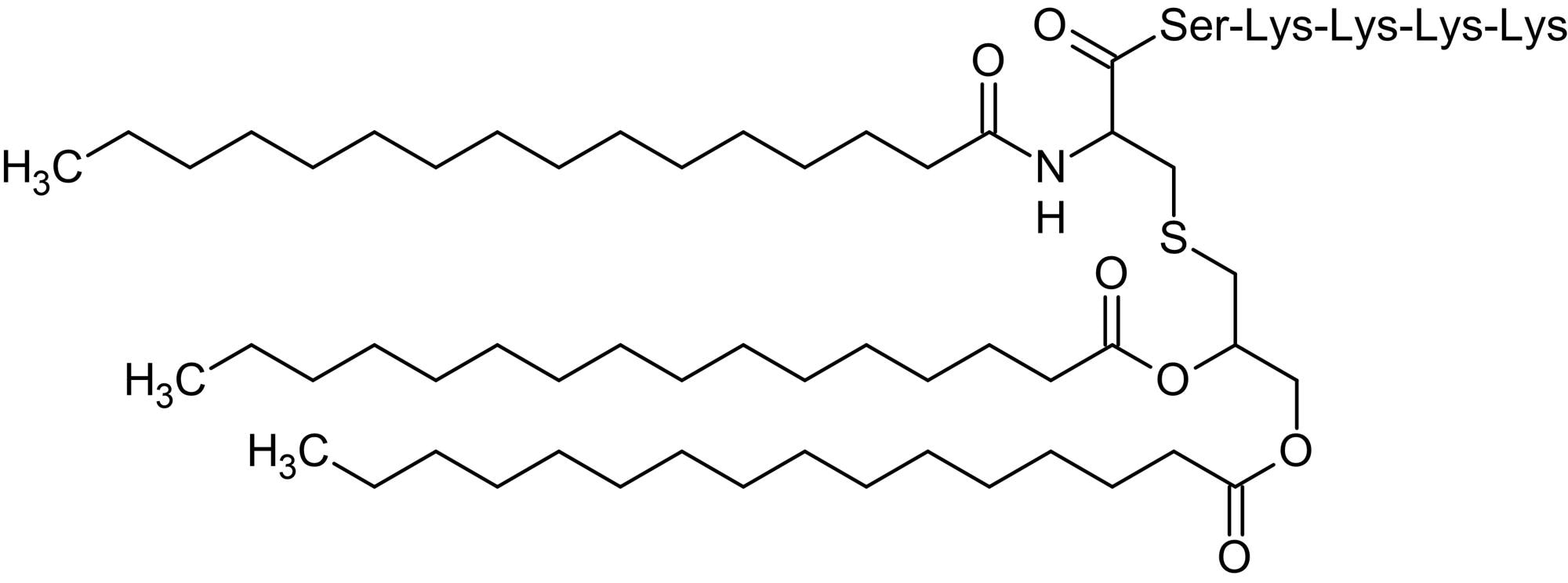 Chemical Structure - Pam3Cys-Ser-(Lys)4, TLR1/TLR2 agonist (ab142085)