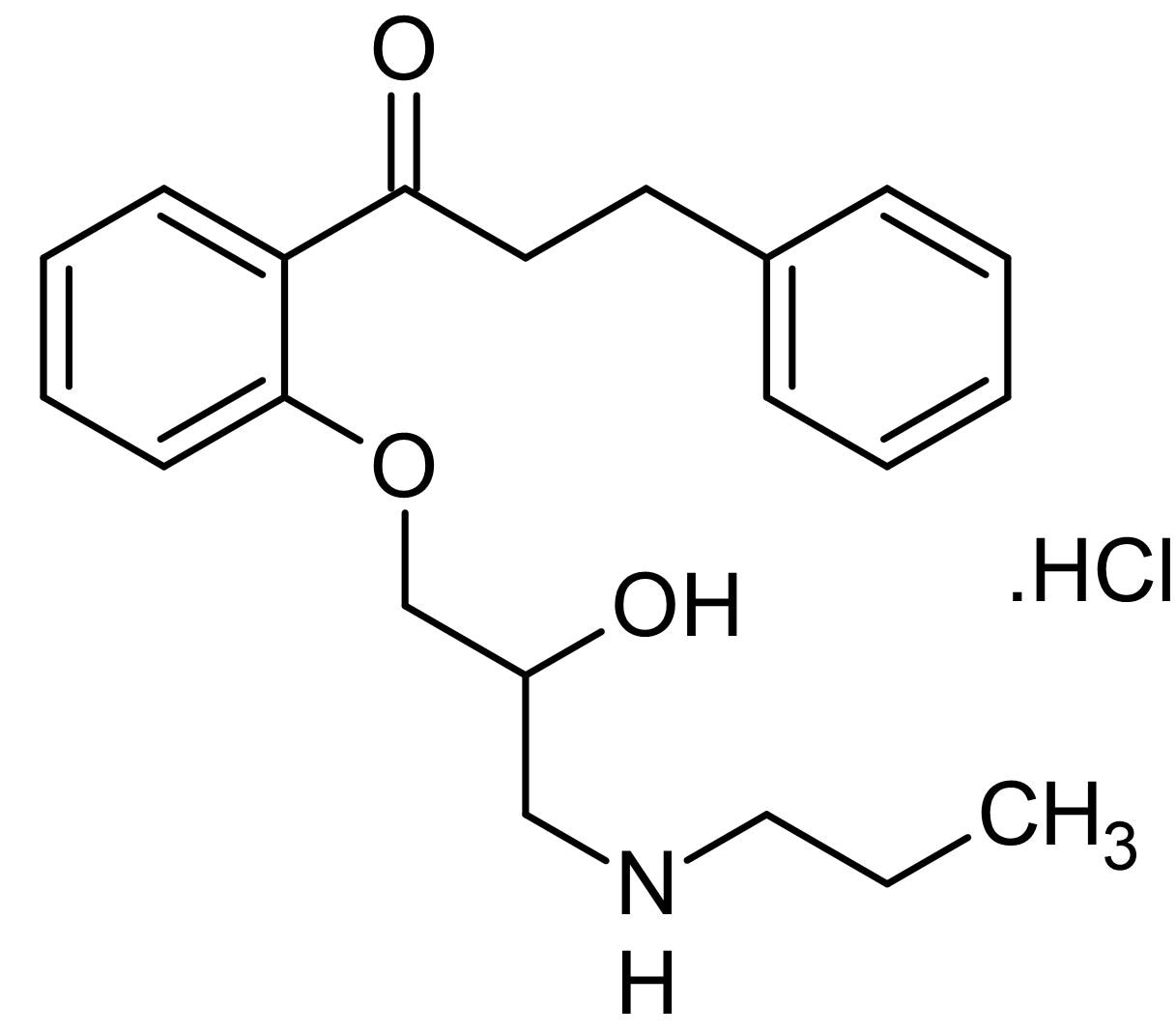 Chemical Structure - Propafenone hydrochloride, Na<sup>+</sup>, Ca<sup>2+</sup> and K<sup>+</sup> channel blocker (ab142357)