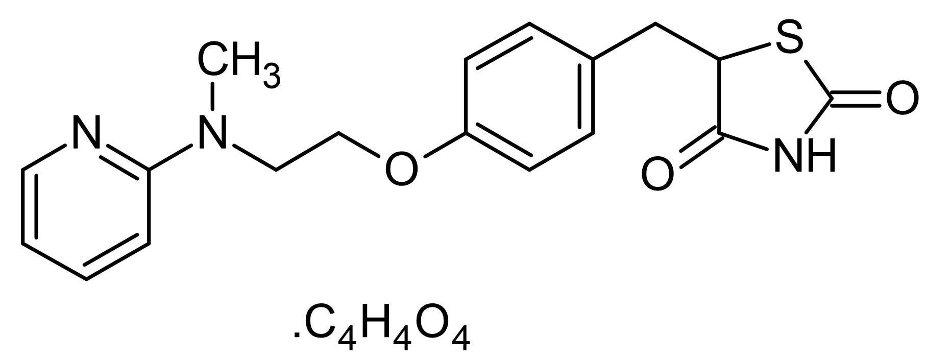 Chemical Structure - Rosiglitazone maleate (Avandia), PPARgamma agonist. Maleate salt. (ab142461)