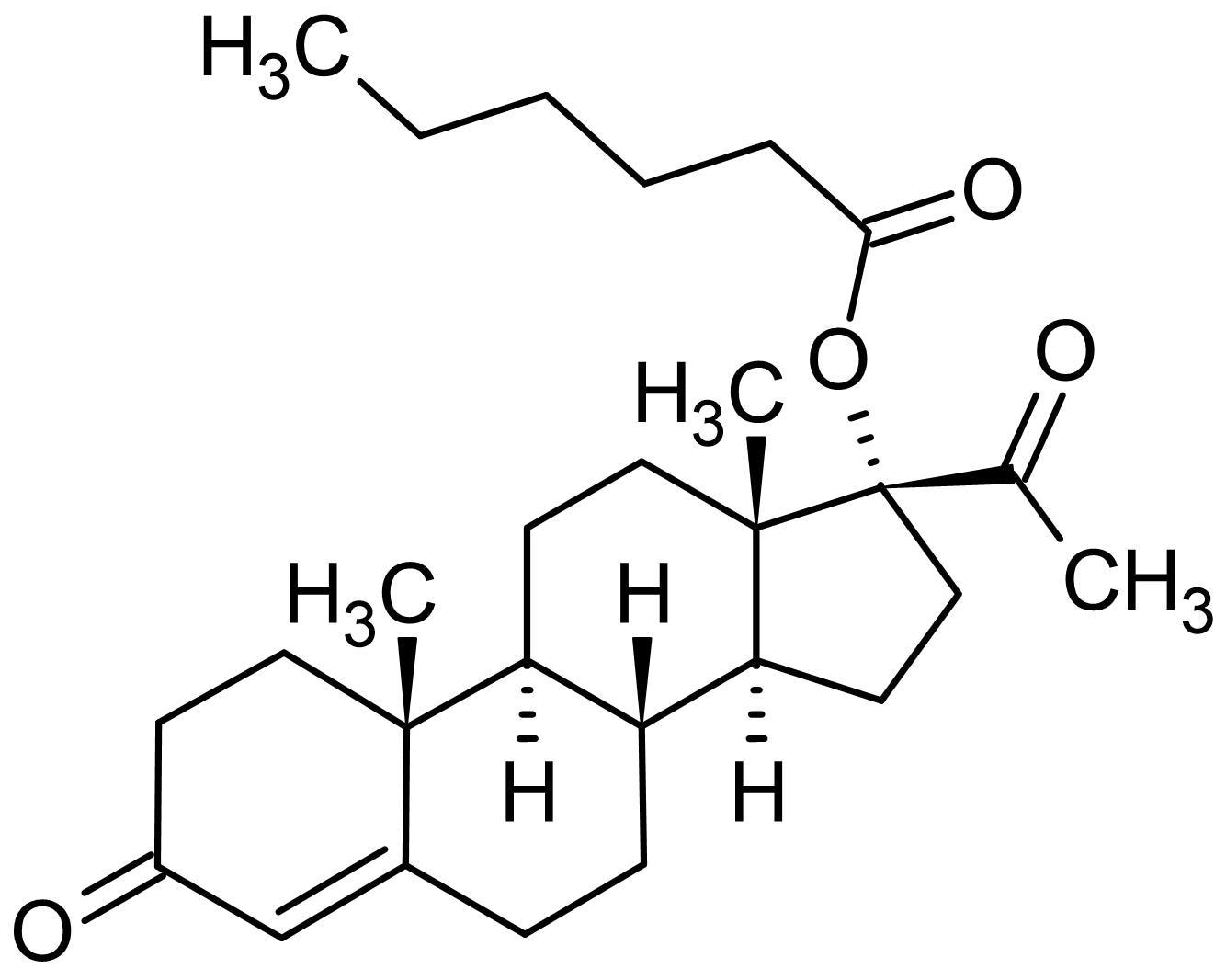 Chemical Structure - 17alpha-Hydroxyprogesterone caproate (17-OHP), anti-estrogen (ab142640)