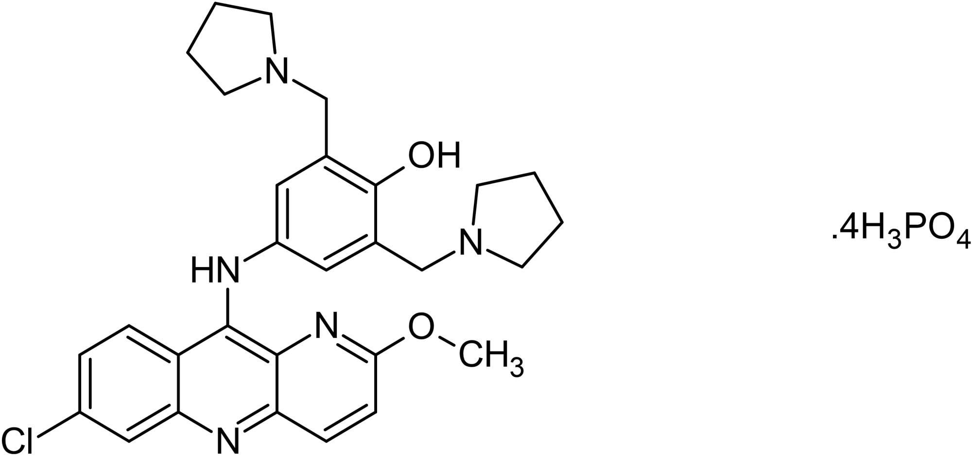 Chemical Structure - Pyronaridine tetraphosphate, Antimalarial agent (ab142696)