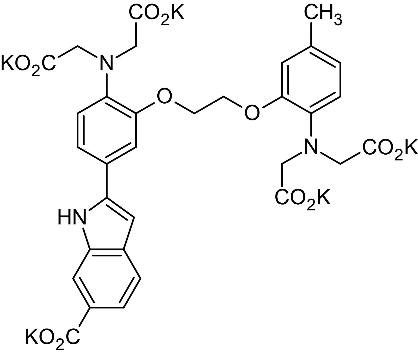 Chemical Structure - Indo-1 K+ salt, fluorescent Ca<sup>2+</sup> indicator (ab142779)