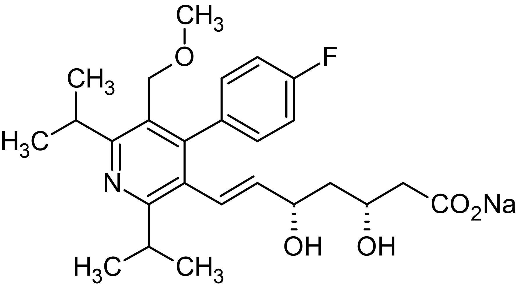 Chemical Structure - Cerivastatin sodium, HMG-CoA reductase inhibitor (ab142853)
