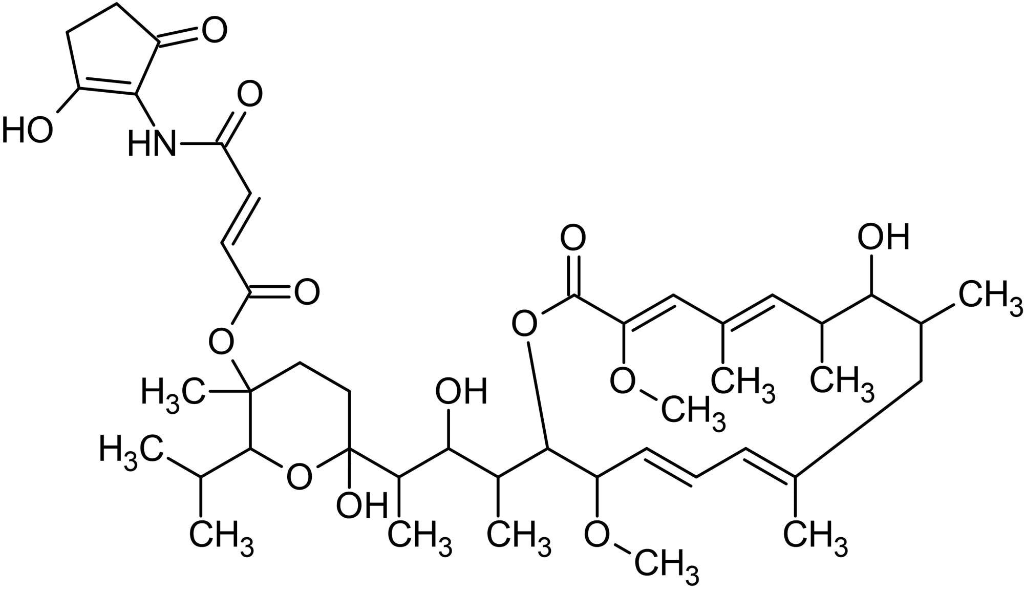 Chemical Structure - Bafilomycin B1, macrolide antibiotic (ab143365)
