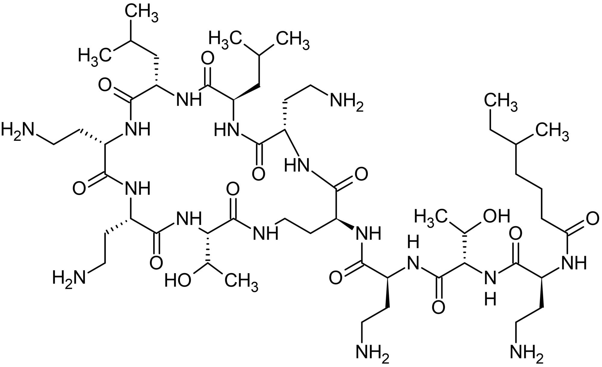 Chemical Structure - Colistin sulfate, Cationic polypeptide antibiotic (ab143385)