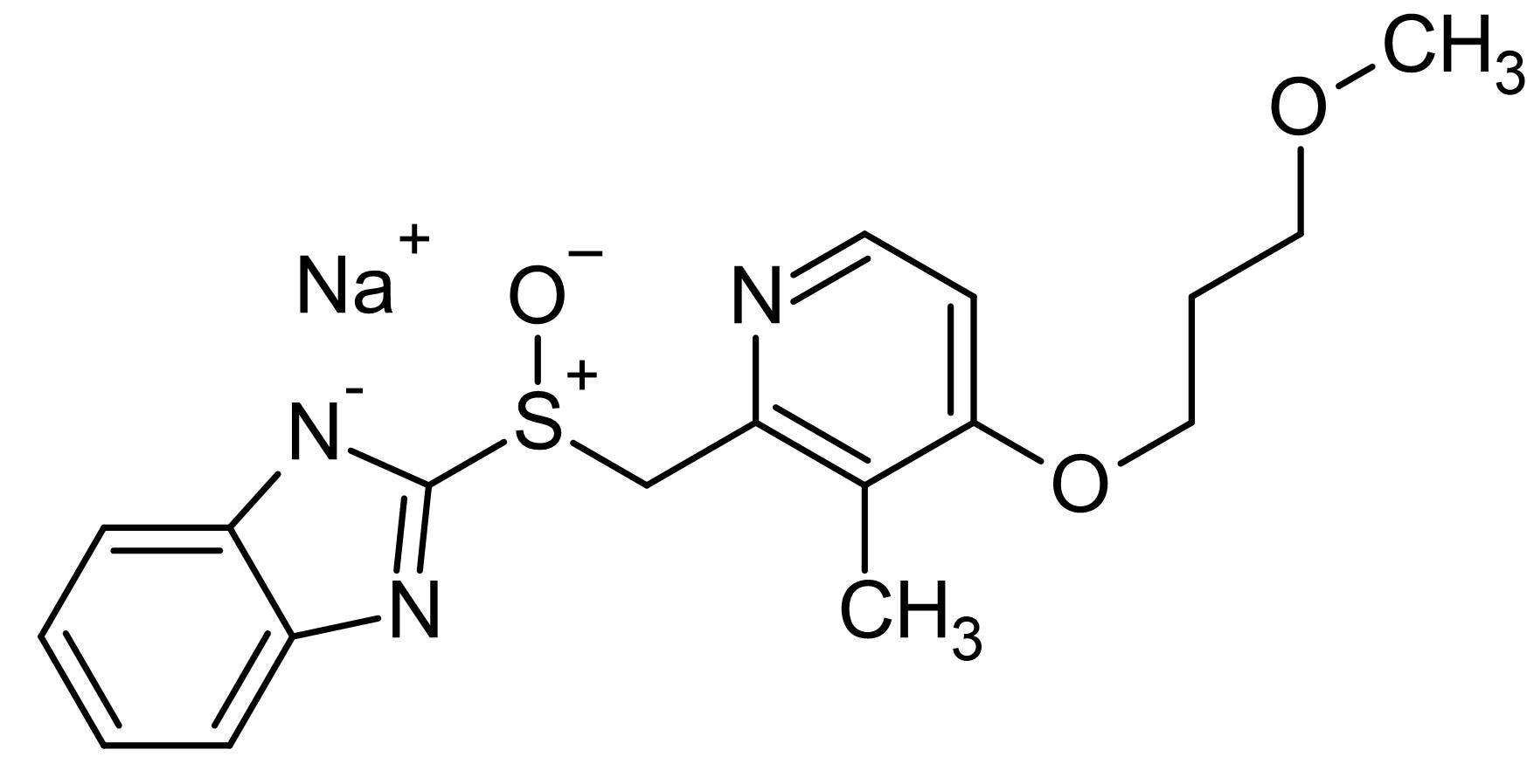Chemical Structure - Rabeprazole sodium salt, gastric H<sup>+</sup>/K<sup>+</sup> ATPase pump inhibitor (ab143690)