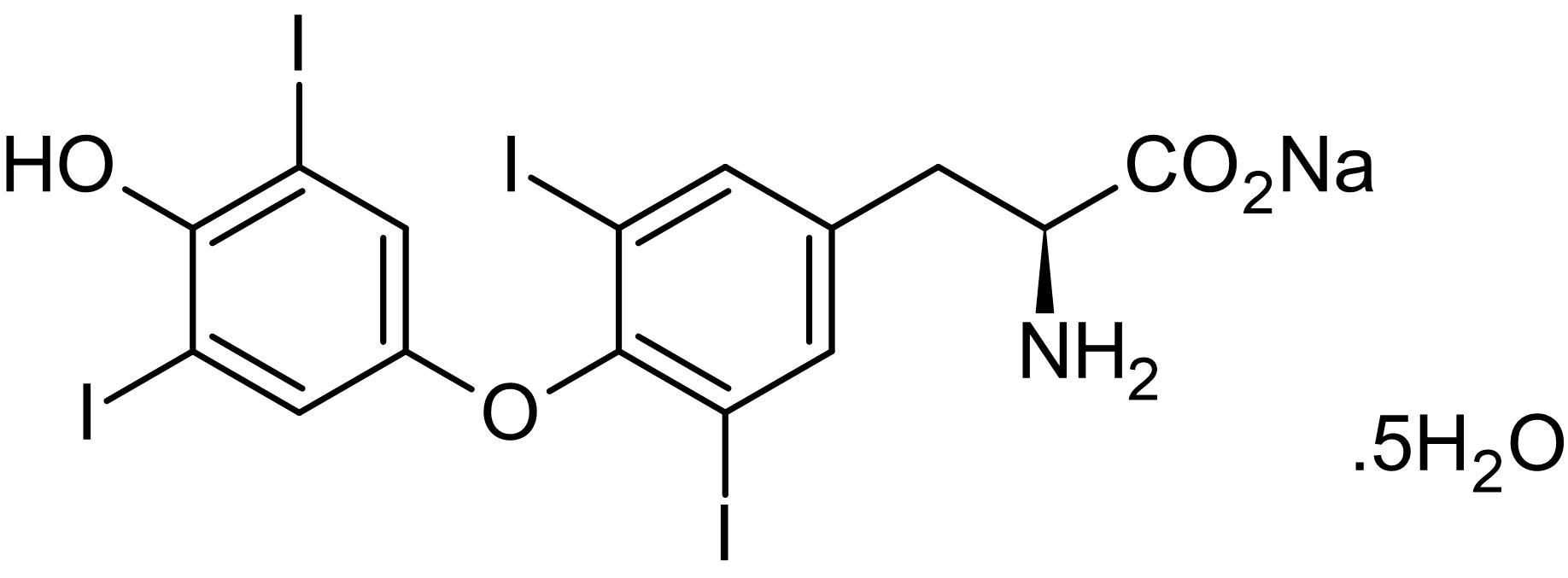 Chemical Structure - L-Thyroxine sodium salt pentahydrate (Sodium levothyroxine), thyroid prohormone (T<sub>4</sub>) (ab143720)