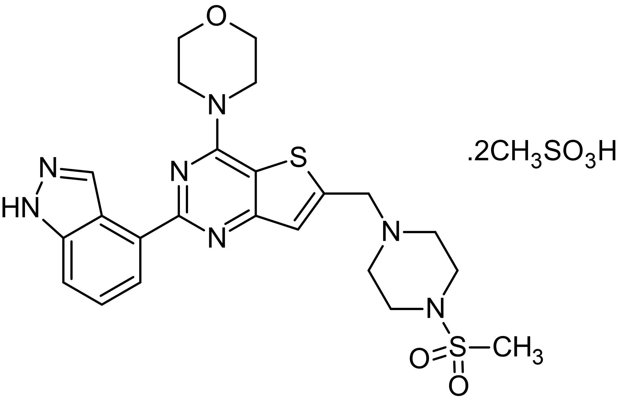 Chemical Structure - GDC-0941 dimesylate, PI3K inhibitor (ab143812)
