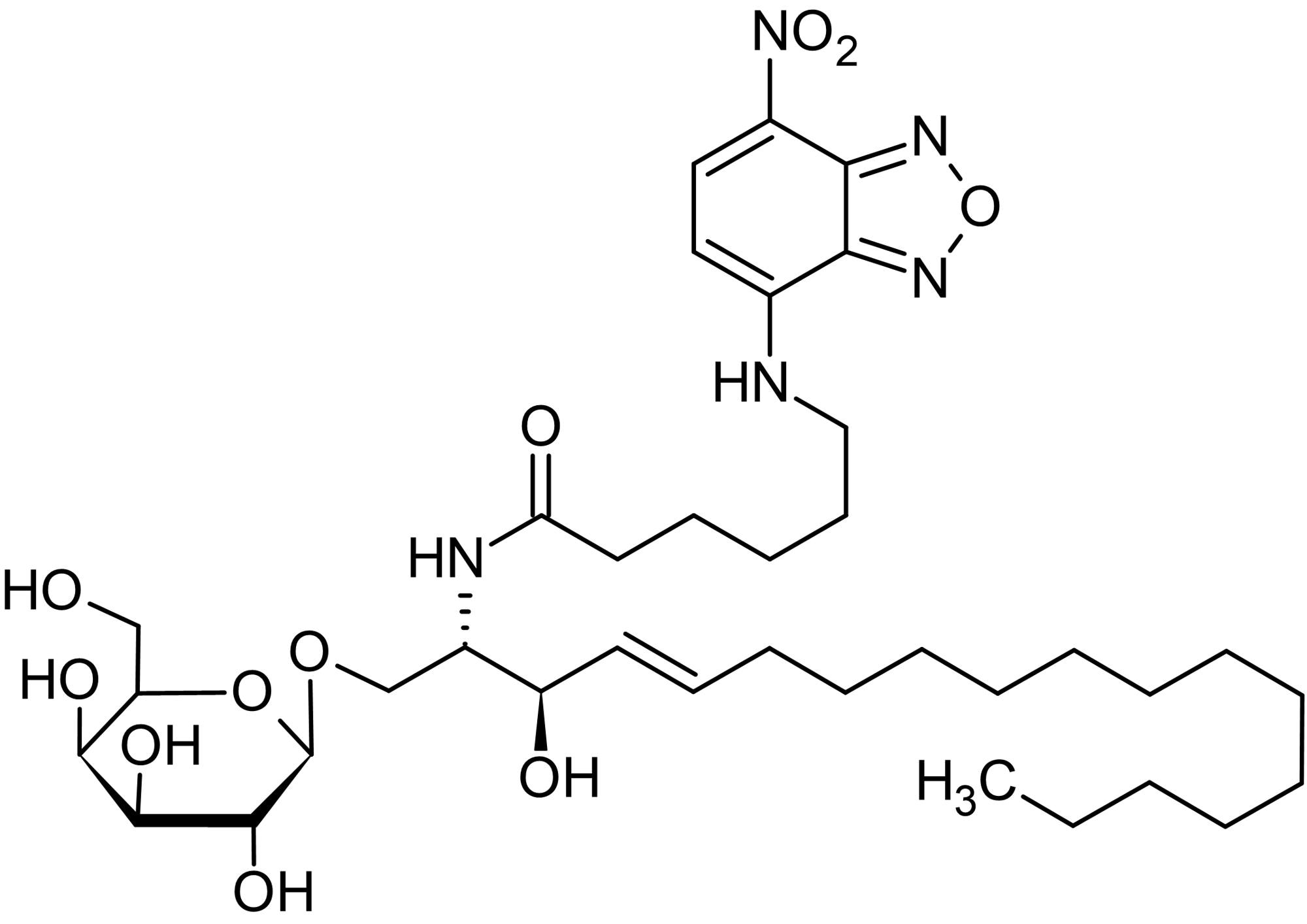 Chemical Structure - N-Hexanoyl-NBD-galactosylceramide (C6-GalCer), Fluorescent C6:0-galactosylceramide analog (ab143988)