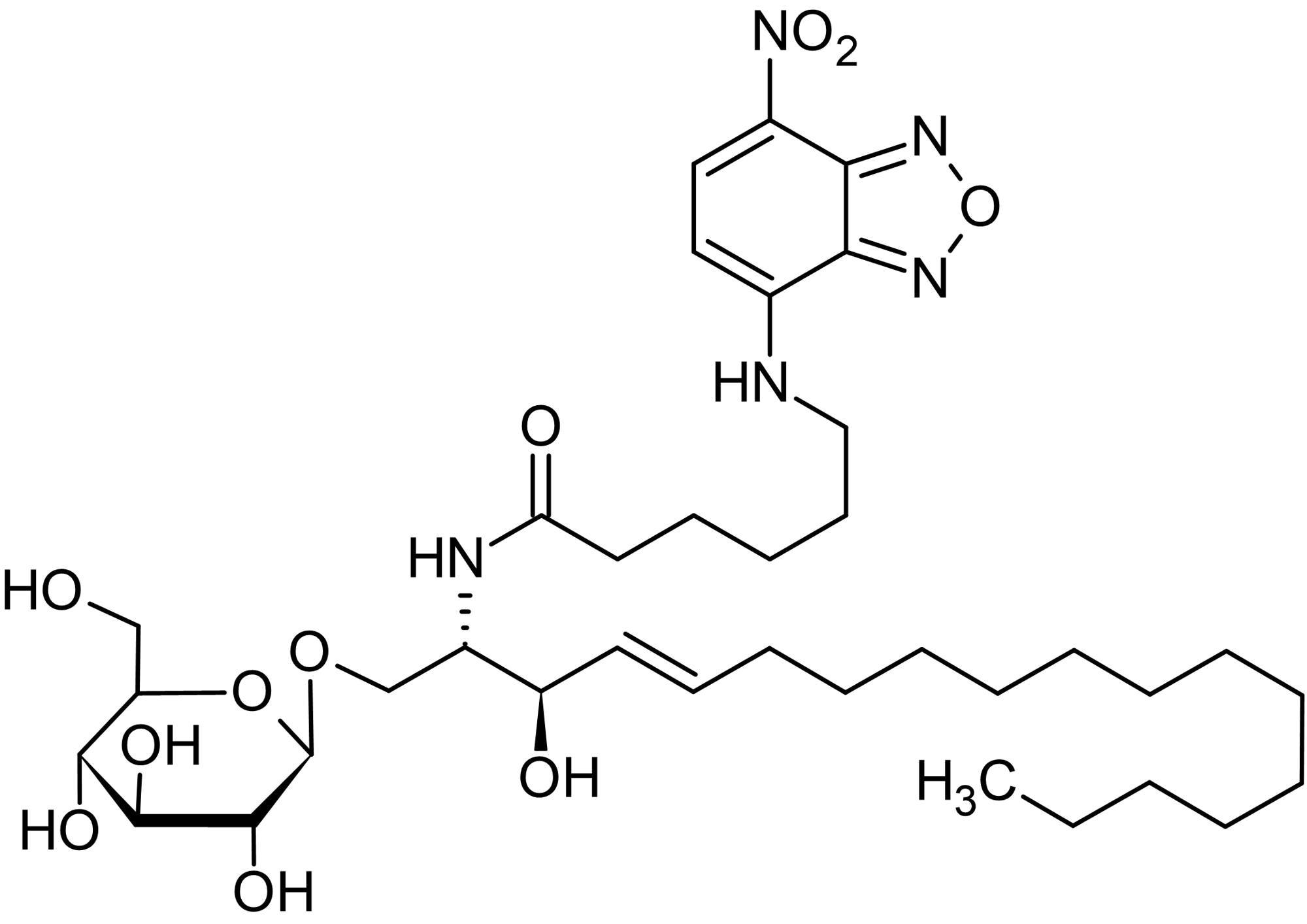 Chemical Structure - N-Hexanoyl-NBD-glucosylceramide, Fluorescent C6:0-glucosylceramide analog (ab143989)
