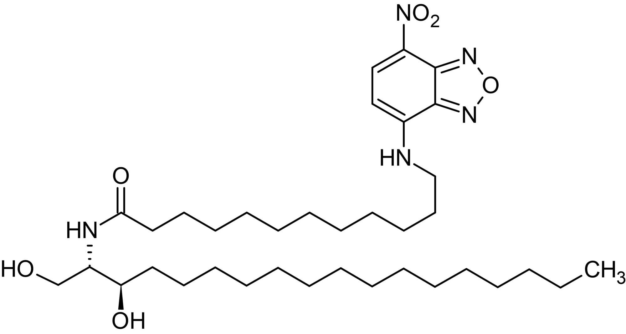 Chemical Structure - N-Dodecanoyl-NBD-D-erythro-dihydrosphingosine, Fluorescent C12:0-dihydrosphingosine analog (ab143992)