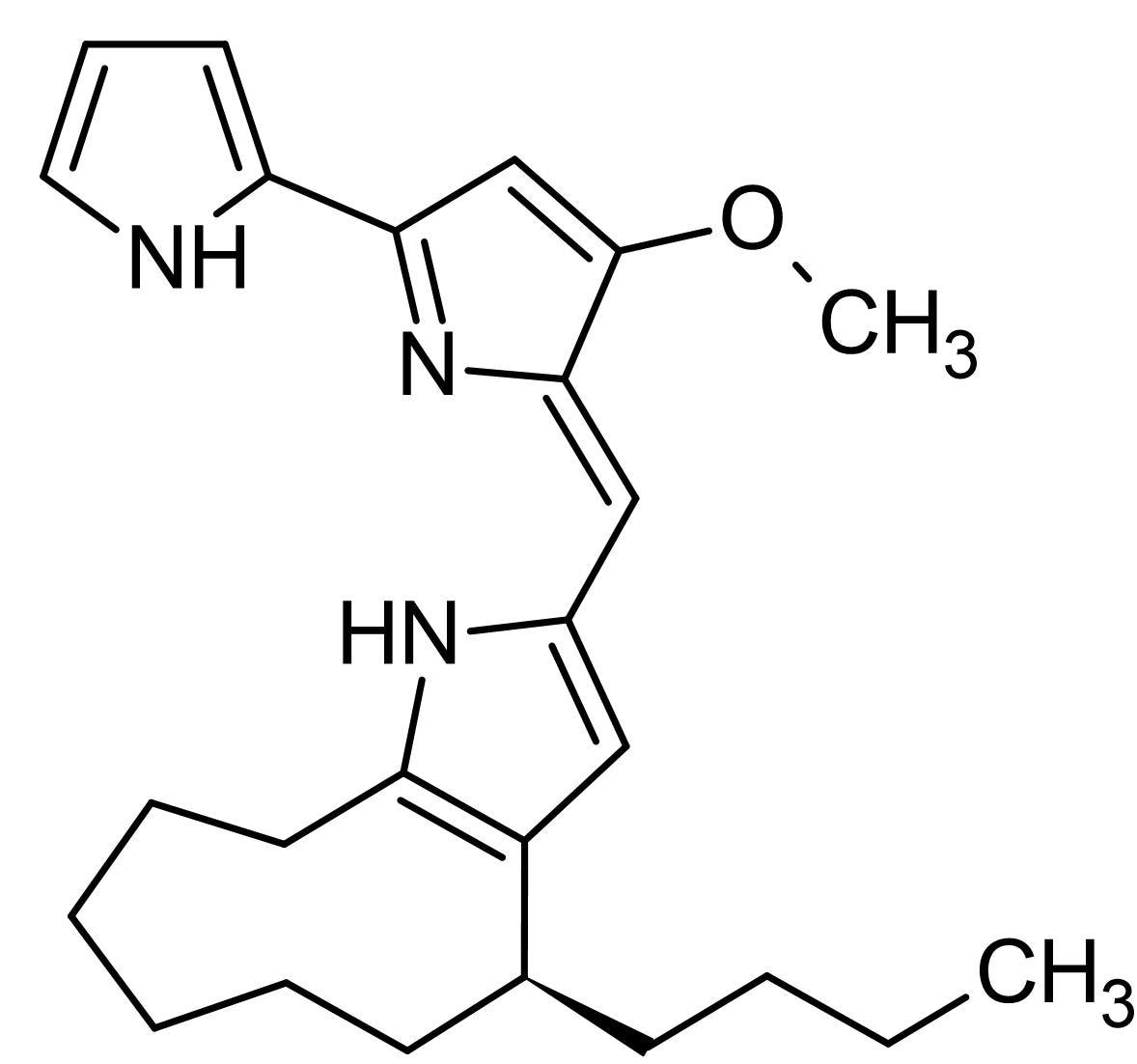 Chemical Structure - Butylcycloheptylprodigiosin, Prodigiosin analog (ab144215)