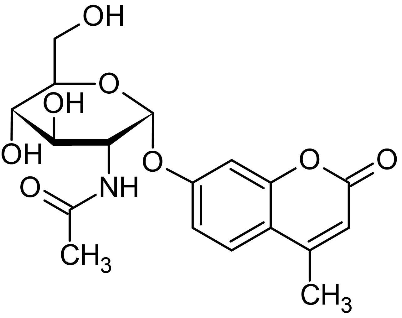 Chemical Structure - 4-Methylumbelliferyl 2-acetamido-2-deoxy-alpha-D-glucopyranoside, Fluorogenic substrate (ab144785)