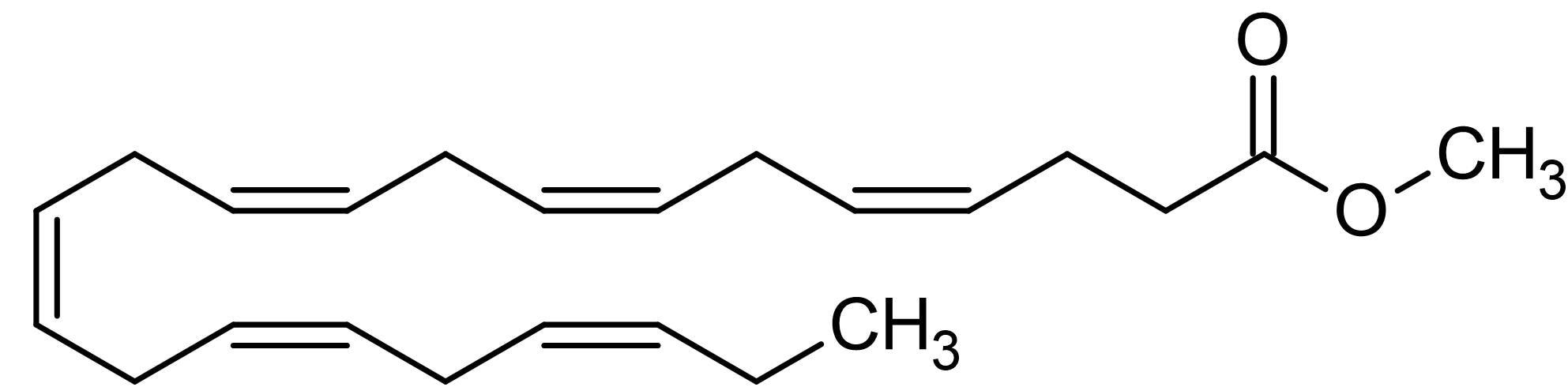 Chemical Structure - cis-4,7,10,13,16,19-Docosahexaenoic acid methyl ester, docosahexaenoic acid methyl ester (ab144976)