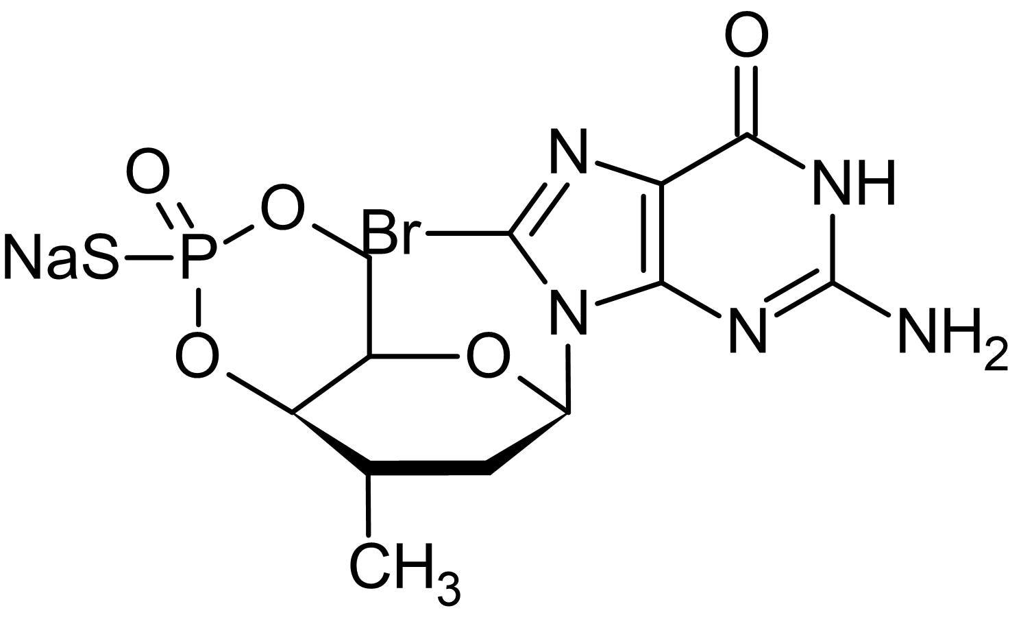 Chemical Structure - Rp-8-Br-cGMPS, cGMP blocker (ab145204)