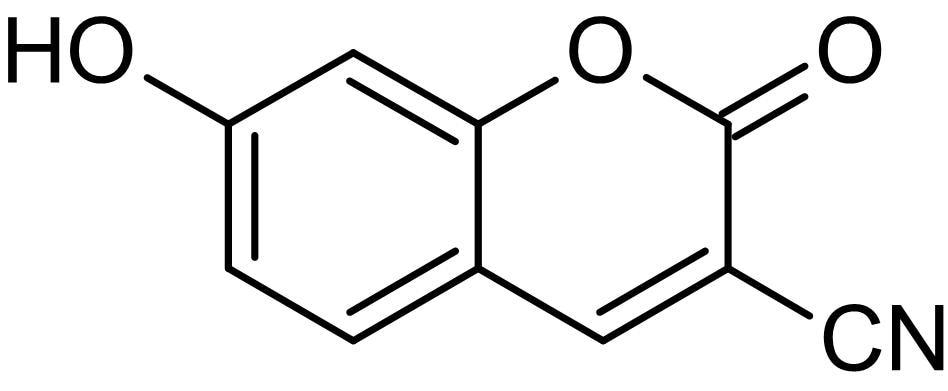 Chemical Structure - 3-Cyanoumbelliferone (3-cyano-7-hydroxycoumarin), Fluorometric agent (ab145245)