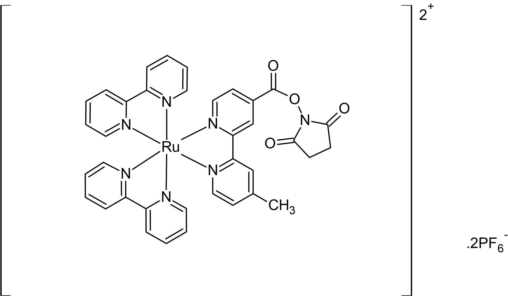 Chemical Structure - Ru(bpy)2(mcbpy-O-Su-ester)(PF6)2, ester of ruthenium (ab145285)