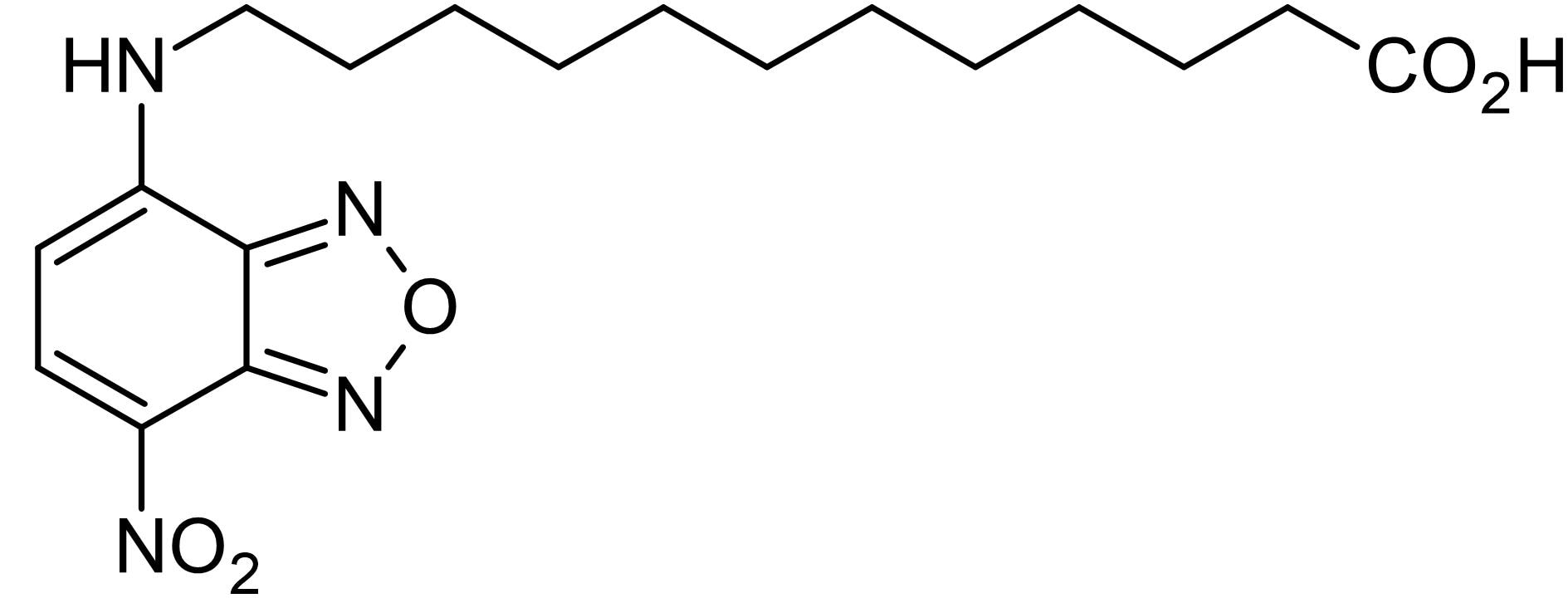 Chemical Structure - NBD-dodecanoic acid, Fatty acid ligand binding site probe (ab145361)