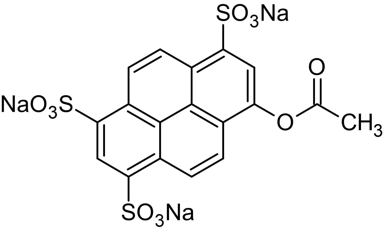 Chemical Structure - 8-Acetoxypyrene-1,3,6-trisulfonic acid trisodium salt, Fluorogenic esterase substrate (ab145400)