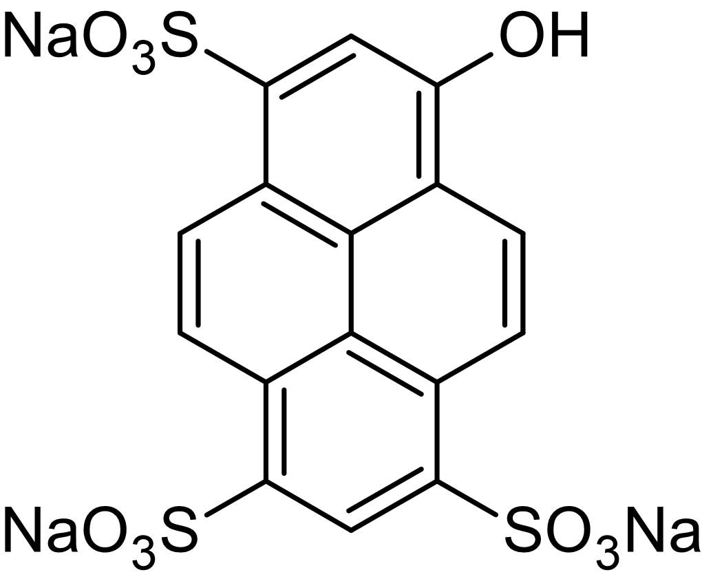Chemical Structure - HPTS, Fluorescent membrane-impermeant pH indicator (ab145413)