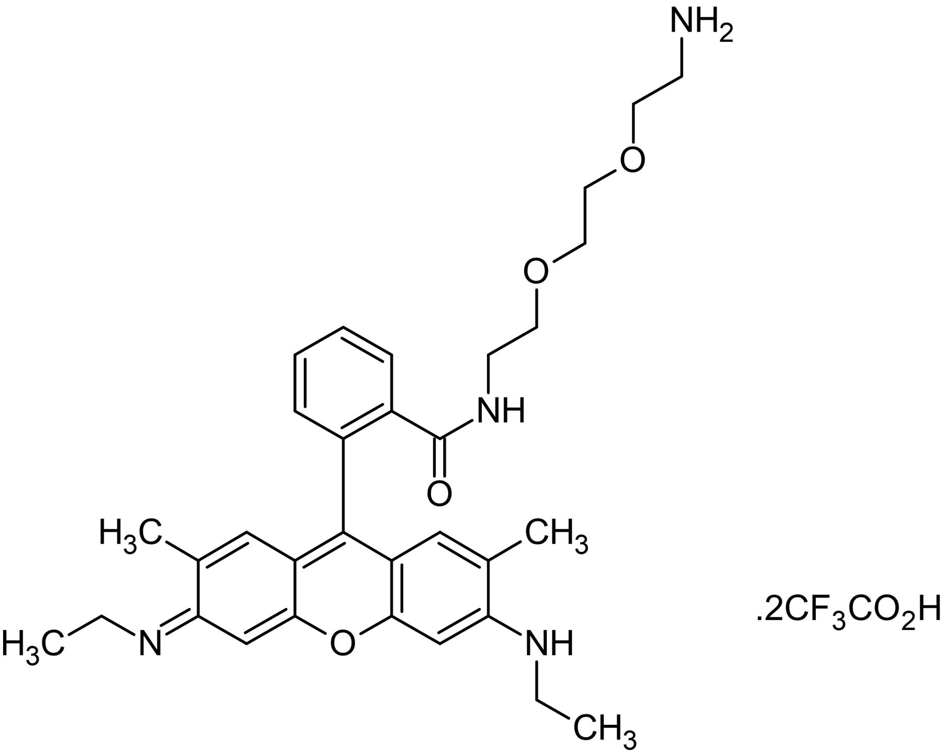Chemical Structure - Rhodamine 6G bis(oxyethylamino)ethane amide bis(trifluoroacetate), Fluorescent labeling rhodamine (ab145501)