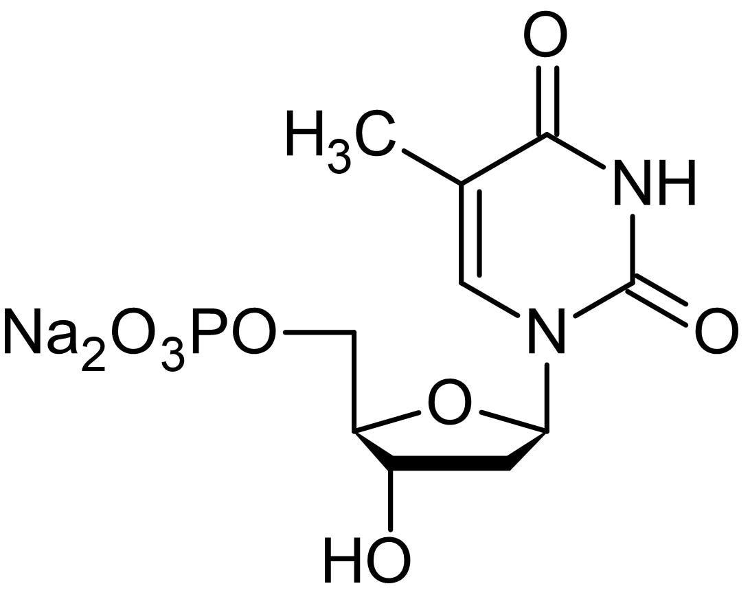 Chemical Structure - 2'-Deoxythymidine 5'-monophosphate disodium salt, Deoxyribonucleotide. (ab146532)