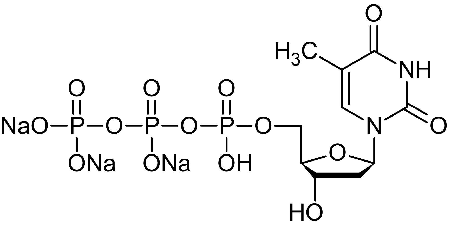 Chemical Structure - 2'-Deoxythymidine 5'-triphosphate [dTTP] trisodium salt (aqueous), nucleoside triphosphate (ab146558)