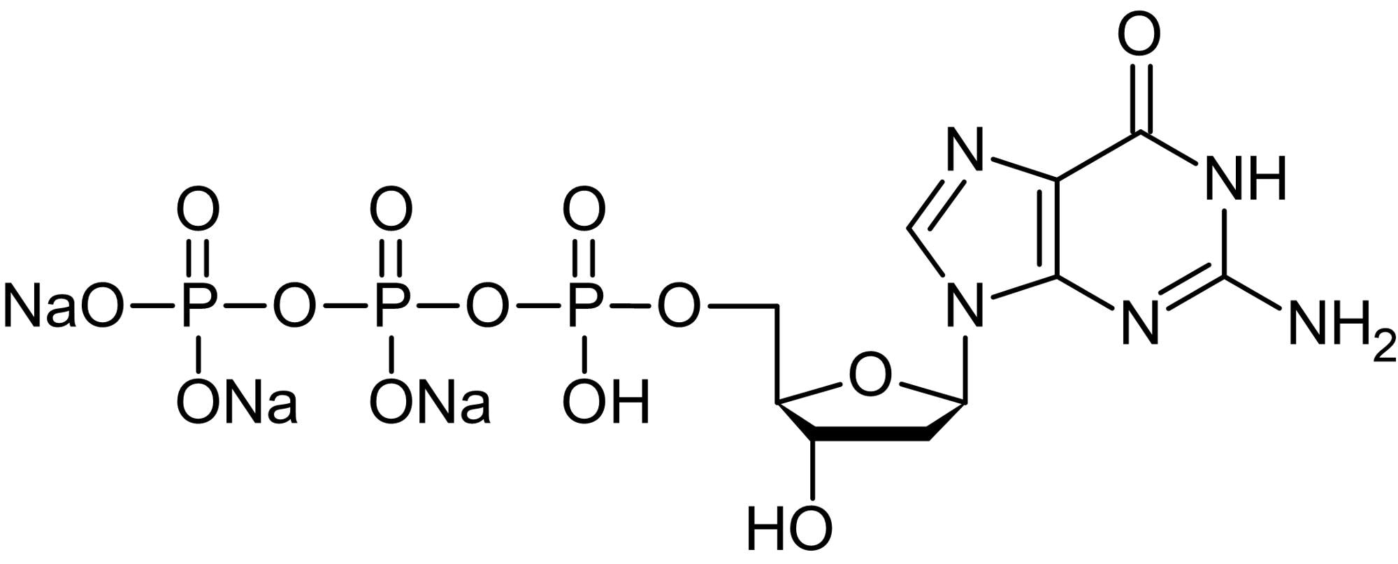 Chemical Structure - 2'-Deoxyguanosine 5'-triphosphate [dGTP] trisodium salt (aqueous), purine nucleoside triphosphate (ab146559)