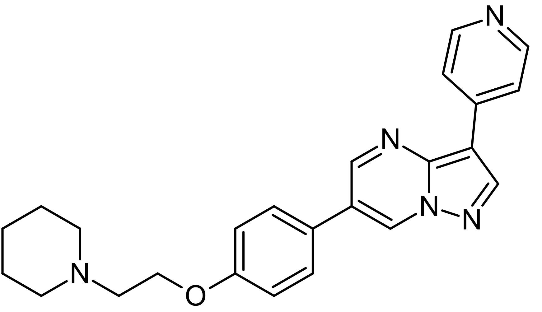 Chemical Structure - Dorsomorphin (Compound C) (DMSO solution), AMP-kinase inhibitor (ab146597)