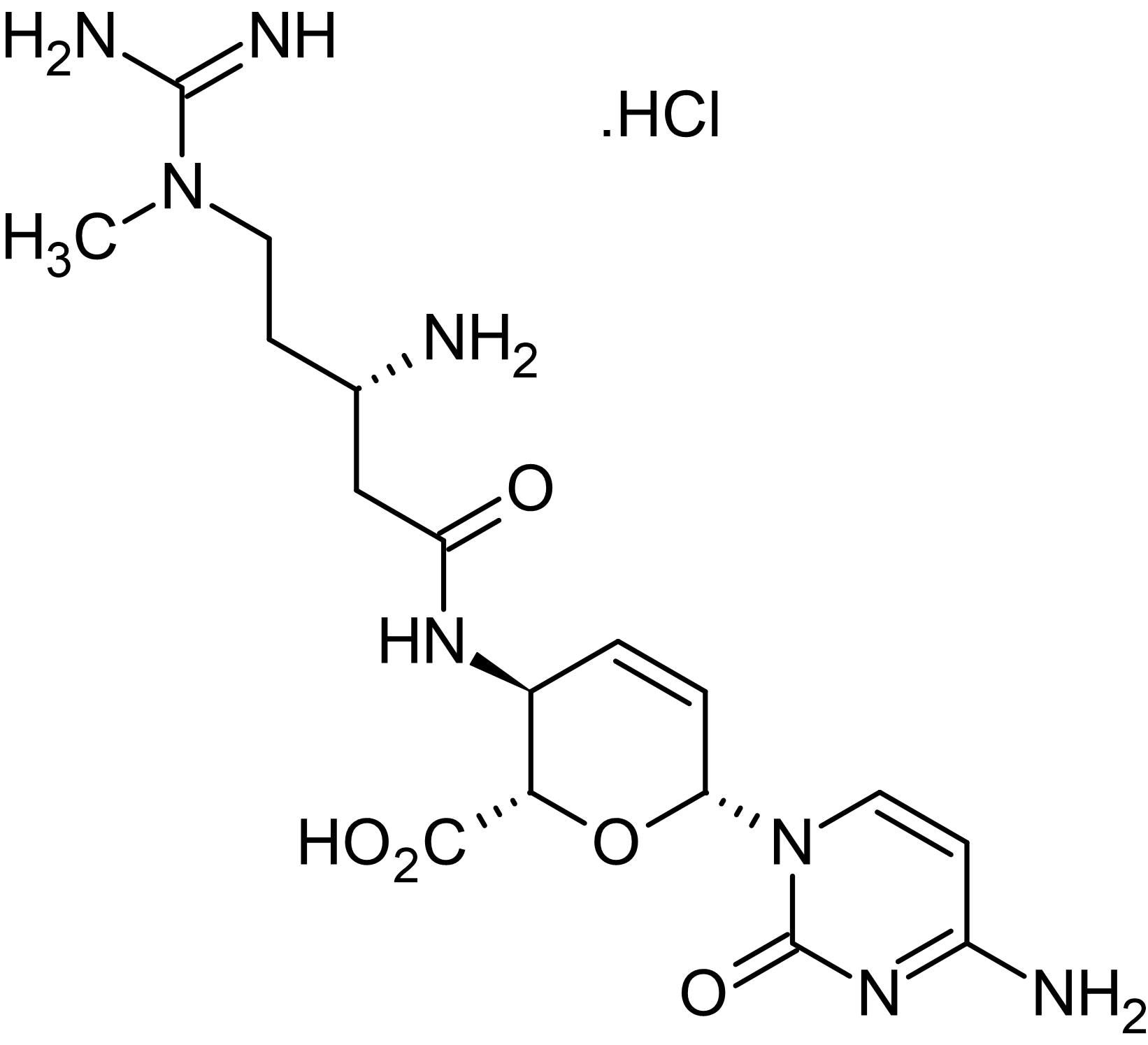 Chemical Structure - Blasticidin S hydrochloride (aqueous solution in HEPES, pH 7.5, sterile-filtered), antibiotic agent (ab146609)