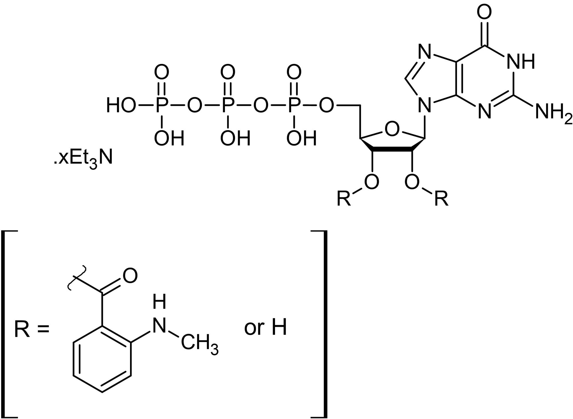 Chemical Structure - Mant-GTP (aqueous solution), Fluorescent nucleotide GTP analog (ab146757)