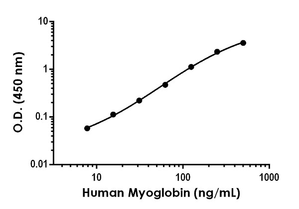 Example of human Myoglobin standard curve in 1X Cell Extraction Buffer PTR.