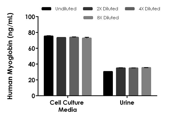 Interpolated concentrations of spike Myoglobin in human cell culture media and urine samples.