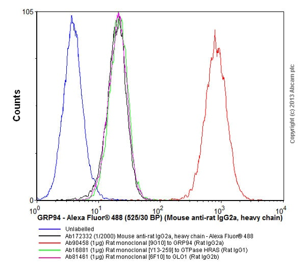 Flow Cytometry - Mouse monoclonal [2A 8F4] Anti-Rat IgG2a heavy chain (Alexa Fluor® 488) (ab172332)
