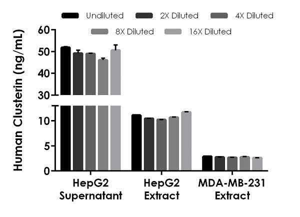 Interpolated concentrations of native Clusterin in human HepG2 cell supernatant, HepG2 cell extract, and MDA-MB-231 cell extract.
