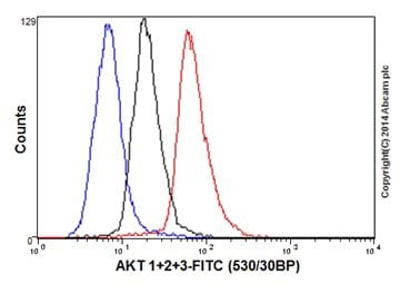 Flow Cytometry - Anti-AKT1 + AKT2 + AKT3 antibody [EPR16798] (ab179463)