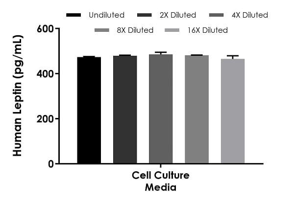 Interpolated concentrations of spike Leptin in cell culture media samples.