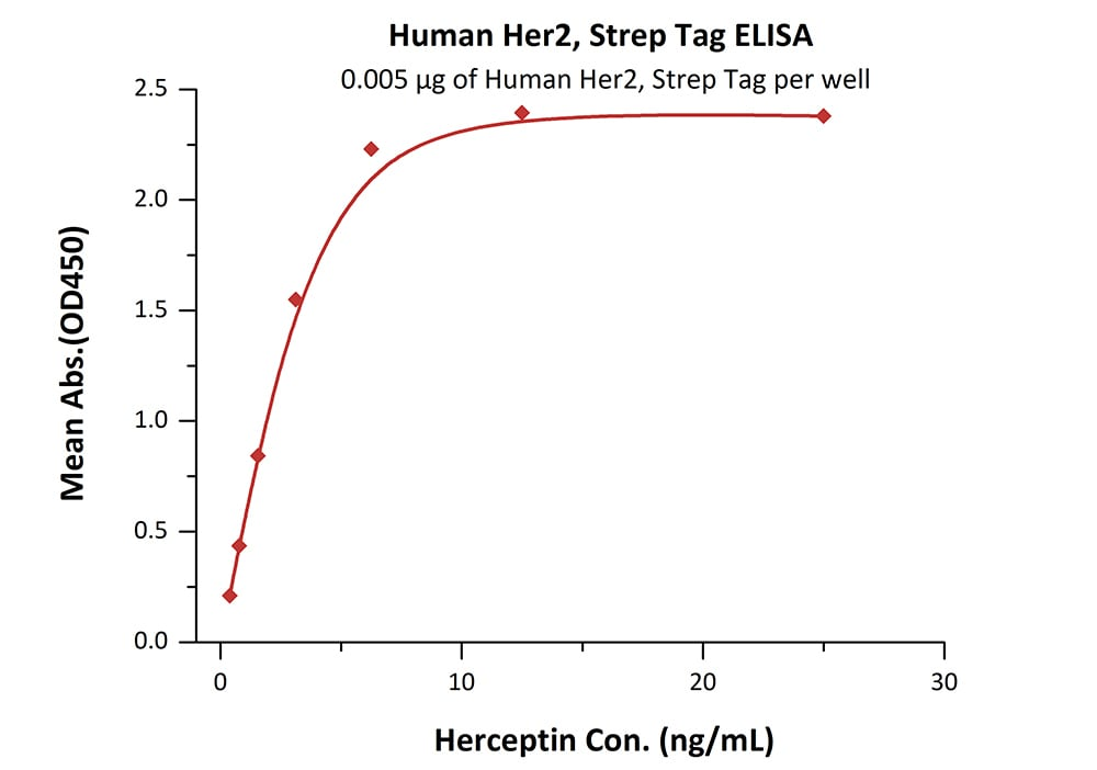Functional Studies - Recombinant human ErbB 2 protein (Strep-tag) (ab182691)