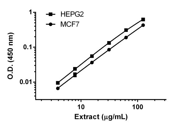 Titration of HEPG2 and MCF7 extracts within the working range of the assay.