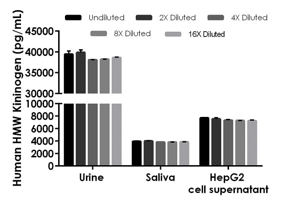 Interpolated concentrations of native HMW Kininogen in human urine, saliva, and HepG2 cell supernatant samples.