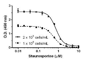 Example of staurosporine IC50 determination.