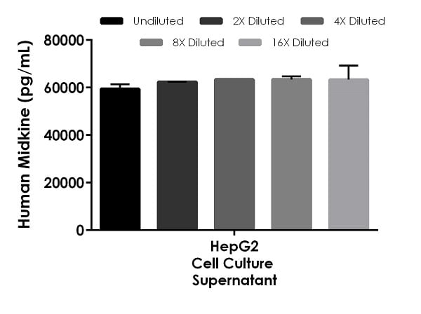 Interpolated concentrations of native Midkine in human cell culture supernatant samples.