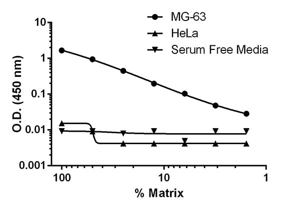 Titration of serum-free cell culture supernatant in different cell lines.