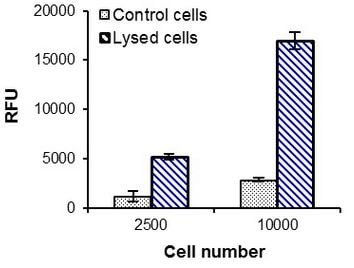 Relative Fluorescence Units of untreated Jurkat cells or treated with Cell Lysis Solution.