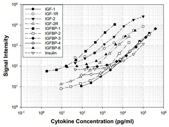 Human IGF Signaling Antibody Array (10 targets) - Quantitative (ab197446) Standard Curve